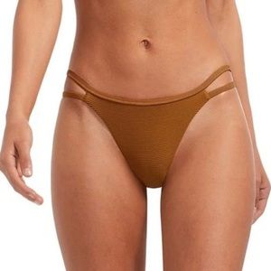 VITAMIN A Bonita Bio Ribbed Bikini Bottom Amber